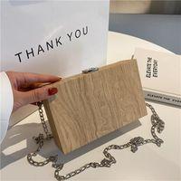 Evening Bags Wood Grain Retro Box Bag 2021 Summer Ladies Shoulder Chain Messenger Small Square De Luxe Femme