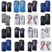 2 Leonard Basketbol Jersey Erkek Şehir Paul 13 George Mavi Siyah Beyaz Gri Kolsuz Gömlek S-XXL
