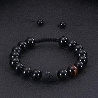 Pärla armband för män tolv konstellationer Armband Justerbar svart Agate Tiger Eye Stone Woven armband