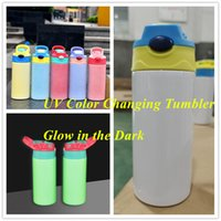Two Functions 12oz UV Color Changing Tumbler Glow in the Dark Sublimation STRAIGHT Sippy Cup Baby Bottle Stainless Steel Drinking tumbler for kids