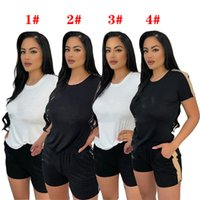 Summer Womens T Shirts Shorts Casual Set Tracksuits With Rhinestone Letter Print Women Tshirt Clothing 4 Styles