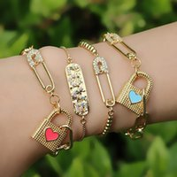 Unique Padlock Paper Clip Safety Pin Bracelet For Women Summer Fashion Jewelry CZ Crystal Punk Pulsera Con Papel Link, Chain