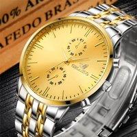 Moda Erkekler Saatler Lüks Altın Gümüş Paslanmaz Çelik Kuvars Saatler Adam İzle Orlando Horloge Saatı