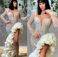 2021 Plus Size Arabic Aso Ebi Luxurious Stylish Mermaid Prom Dresses Beaded Pearls Evening Formal Party Second Reception Gowns Dress ZJ467