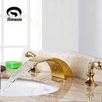 Gold Bathroom Shower Faucet Cold Deck Mount Dual Handle Three Holes Swan Modern Type Tub Mixer Tap Sets
