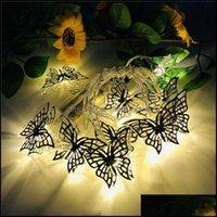 Decorações Festivas Suprimentos GardenColored Ferro Ferro Borboleta LED String Fairy Light Decoração para Casa Party Wedding Christmas Tree
