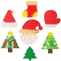 Christmas Tree Stocking Mitten Shape Push Pop Fidget Toys Bubbles Popper Board Tie Dye Xmas Santa Clause Hat Caps Mitt Poo-its Finger Puzzle Educational Toy
