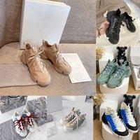 럭셔리 D-Connect 여성 캐주얼 신발 디자이너 드레스 네오프렌 Grosgrain 리본 운동화 비스듬한 편지 플랫폼 트레이너 자수 인쇄 Dupe 캔버스 신발 상자