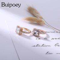 Buipoey mode glänzend quadrat kristall ring für frauen original rose gold stapelbare liebhaber weiblich engagiert hochzeit schmuck geschenk cluster ringe