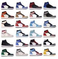 2021 Nouvelle arrivée Haute Jumpman 1 Unc Obsidienne Université Bleu 1S Mens Basketball Chaussures de basket Twist Volt Dark Mocha Twist Volt Entraîneurs Taille 13