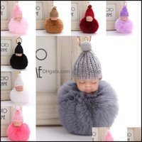 Keychains Fashion Aessoriessweet Fluffy Pompom Slee Key Chain Faux Rabbit Fur Pom Pon Knitted Hat Baby Doll Keychain Car Keyring Toy Trendy