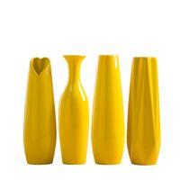 30CM Modern Yellow Vase Furniture Decoration Ceramic Red Tabletop Vases Statue Flower Pot Home Decorations Wedding DDA5459