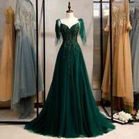 Novo vestido de noite verde sexy com decote em v sem mangas a linha at o cho cristal bling costas rendas festa formal