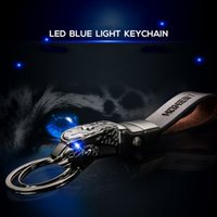Leather Keychain Mens Waist Hanging Fashion Leopard Style Car Key Chain Blue LED Light Pendant Double Ring For Business Nice Gift