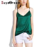 Suyadream frauen seide camis 100% echte seide satin sexy v neck spitze stamisolen sommer botting t shirt schwarz weiße tanks 210325