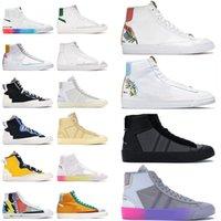 Off White x Nike Blazer Mid 77 Vintage Nik Sacai أحذيياضيالنساء ذات علامة تجارية غير رسمية أحذية رياضية ذات نعل سميك Catechu Indigo White All Hallows Eve Grim Reaper أحذية ريا نعل