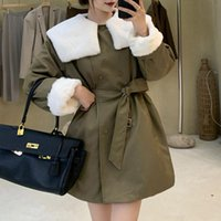 Women's Trench Coats Overcoat French Chic Personality Waist White Fur Lapel Short Windbreaker Elegant Fashion All-match With Belt