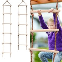 2021 Kids Fitness Toy Wooden Rope Ladder Multi Rungs Climbing Game Toy Outdoor Training Activity Safe Sports Rope Swing Swivel Rotary