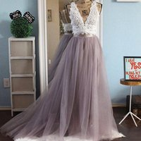 Skirts Top Sale Long Tulle Tutu Skirt Womens Floor Length Sweep Train Maxi Bridesmaid Prom Party Faldas Mujer Moda