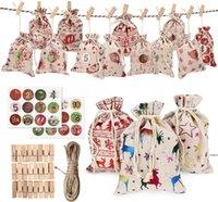 24 / Set decorativi e appesi piccoli sacchetti di stoffa Avvento calendario natale in cotone in cotone sacchetto di lino set regalo numeri colorati HWE5282