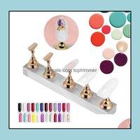 Salon Health BeautyFalse Display Set, Nail Art Halter Gold Magnet Nagel, der Regal, Nagel-Praxis-Standhalter, Maniküre-Nägel Drop Deliv