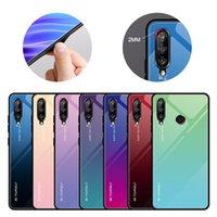 500pcs Gradient Color Rainbow Laser Aurora Hard Case Tempered Glass Cover For Huawei P40 Pro P30 Lite Mate 30 20 Nova 7 SE Y7P