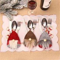 Christmas Decorations Hat Reindeer Year Pocket Fork Knife Cutlery Holder Home Party Dinner Decoration Tableware