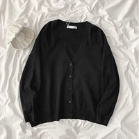 Women's Jackets 2021 Spring And Autumn Loose Lazy V-neck Mid-length Outer Wear Cardigan Jacket Sweater Women