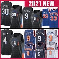 남자 RJ 9 Barrett Julius 30 Randle Basketball Jersey Derrick 4 장미 패트릭 33 Ewing New요크knicks 흑인 도시 유니폼