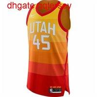 Donovan Mitchell barato # 45 homens laranja top jersey top colete costurado jerseys de basquete