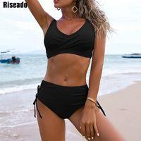 RISEADO Sexy Push Up Bikini Black Damen Badeanzug Kordelzug Badebekleidung Twired Badeanzug 2021 Beachwear Brazilian Bikinis 210319