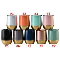 13 унций яичные чашки с крышками бутылки с водой 304 из нержавеющей стали вина тумблер розовое золото термос кофе пивные кружки морские доставки WWA242