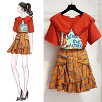 Deux pièces Robe Ichoix Mignonne Girl Summer 2 Set Femmes Jupe à carreaux Casual Hauts et T-shirt Orange T-shirt Korean Style Tenue