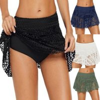 Skirts Women Solid Color Sexy Lace Beach Skirt 2021 Summer Ladies Sarong Bikini Cover-ups Wrap Swimwear Cover Ups
