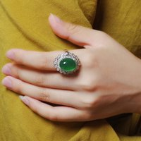 Silver Color Green Opal Ring Vintage Round Cute Crystal Wedding Rings Jewelry Wholesale For Women Girls Drop Cluster