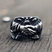 Anelli a cluster 316L anello in acciaio inox anello retrò da uomo donne occhio di provvidenza simbolo massonico Stretta di mano Fremasonry Biker gioielli