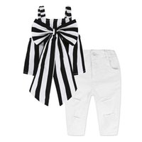 kids designer clothes 2019 Summer Baby Girls Outfits Girls Sets Plaid Clothing Shoulder-straps Bow Stripe Top Long Pants Child Outfits 2 Pcs