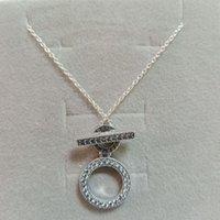 Higt Quality 925 Sterling Silver Signature O T CZ Diamond Colgante colgante para las mujeres de la cadena de discos Pandora Jewerly con caja original