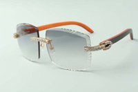 2021 diseñadores XL Diamantes Gafas de sol 3524022, Lente de corte Gafas de madera híbridas naturales, Tamaño: 58-18-135mm