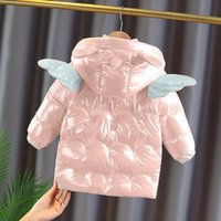 Down Coat Baby Girl Winter Jacket Clothes Warm Waterproof Hooded Long Cotton Coats For Kids Infant Cartoon Angel Wings Outerwear