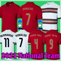 2021 Ronaldo National Soccer Jerseys Joao Felix Bernardo Cancelo Ruben Neves 멀리 화이트 20 21 팀 남성 + 키트 키트 축구 셔츠