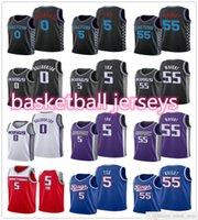 2021 Basketball 55 Delon Wright 5 De'Aaron Fox 0 Tyrese Haliburton Jerseys Black Purple Blanc Bleu Sports Bleu Shirts Vente en gros