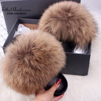Ethel Anderson Women's Furry Slippers Popular Real Hair Casual Slides Plus Fur Summer Sandals Q0508