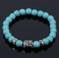 Natural Lava Stone Turquoise Prayer Beads Charms Bracelets Anti-fatigue Silver Buddha Volcanic Rock Men's Women's Diffuser Jewelry ps0693