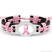 Sensibilisation au cancer du cancer du sein Pink Charme Rose Bracelets en cuir Ruban jaune Bracelet de corde tissé pour femme Déclaration Bijoux Cadeaux
