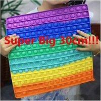 US STOCK SUPER BIG BIG TAILLE 30CM PARTIES Favors Fidget Toys Poussez la bulle Autisme Besoins Squishy Stress Relever Rainbow Adulte Kid Funny Stress Cadeaux Fidgetoys