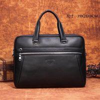 Men's black leather briefcase fashion casual office high-quality large-capacity computer bag retro handbag