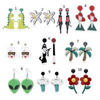 Stile Lustige Acryl Alien Blume Catwomen Große Anhänger Drop Ohrringe Modeschmuck Schiff Baumeln Kronleuchter
