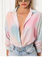 Женские дизайнерские градиентные рубашки мода панель цветные блузки повседневный с длинным рукавом отворот шеи рубашки женской одежды