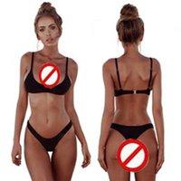 Solid Colors Thong Brazilian Bikinis 2 Piece Sexy Swimwear Women Plus Size Swimsuit Halter Bikini Set Simple Bathing Suit Low Waist Push Up